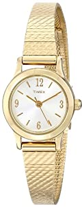 Timex Women's Dress T2P300 Gold Stainless-Steel Quartz Watch with Silver Dial