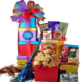 SCHEDULE YOUR DELIVERY DAY! Happy Birthday Surprise! Gift Tower - Gourmet Food Gift Basket