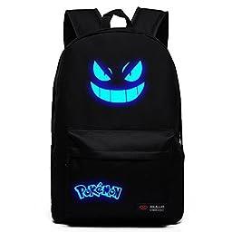 Coolchange Anime Pokemon Gengar Canvas Schoolbag Blue Noctilucence Backpack (Black)