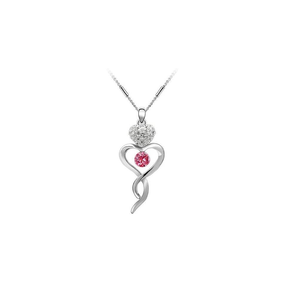 LliVEER Fashionable Grace Element Dangle Pendant Crystal Necklace Newest Ladylike Jewelry Sterling Rose Red Silver Necklace Superb Gift for Daughter,Little Girls