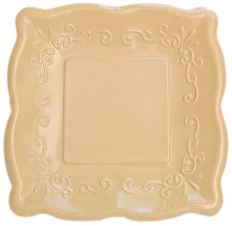 "Elise Scalloped Embossed 7"" Square Premium Paper Plates, 8 Count, Buttercream"