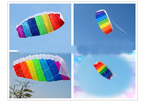 New Beginner Sport Power Dual Line Stunt Parafoil Parachute Beach Rainbow Kite (Glow In The Dark Toy Parachute)