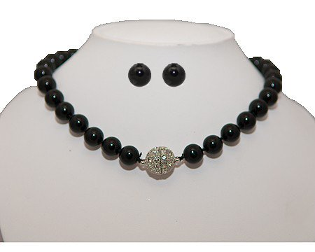 Formal Black Color Pearl Necklace & Black Pearl Stud Earring - Prom/Bridesmaid Jewelry SET