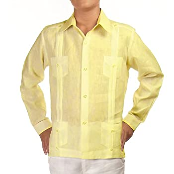 Boys linen guayabera shirt in yellow. Final sale
