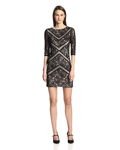 Julia Jordan Women's Cropped Sleeve Lace & Mesh Dress
