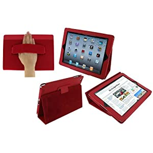 rooCASE Dual Station Premium Leather (Red) Case Cover with Elastic Hand Strap and Stand for Apple iPad 2 / iPad 3 (Built-in Magnet Sleep and Awake Function)