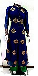 Shree Fashion Woman's Georgette With Dupatta [Shree (63)_Blue]