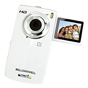 Bell and Howell T100HD-WTake1 HD Digital Video Camcorder with Flip out LCD Screen, Flip USB and 1.8-Inch LCD (White)