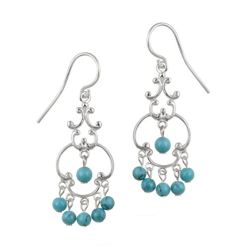 Sterling Silver Fancy Linear Drop French Wire Earrings with 6 Round Turquoise Drops