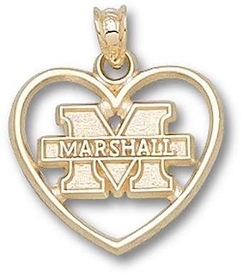 Marshall Thundering Herd New M Marshall Heart Pendant - 14KT Gold Jewelry by Logo Art