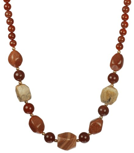 Picture Jasper, Red Malachite and Goldstone Nugget and Carnelian Round Bead Necklace with Gold Plated Silver Clasp, 30