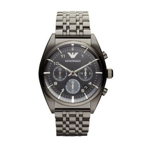 Emporio Armani AR0374 Men's Classic Grey IP Stainless Steel Bracelet Textured Dial Chronograph Watch