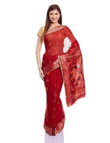 IndusDiva-Jamdani-Handloom-Saree-KOL0100141RedFree-Size