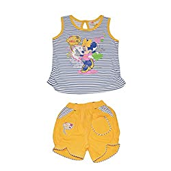 Baby Bucket Premium Summer suit Minnie mouse Print on Sleeveless Top with Half Pant (Yellow, 12-18 Months)