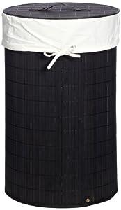 Wäschebox Mila Bambus schwarz 63cm 40cmØ