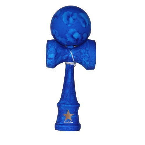Full Marble Blue Rubberized Super Kendama, Super Sticky, Japanese Wooden Toy, Free String, USA Seller - 1