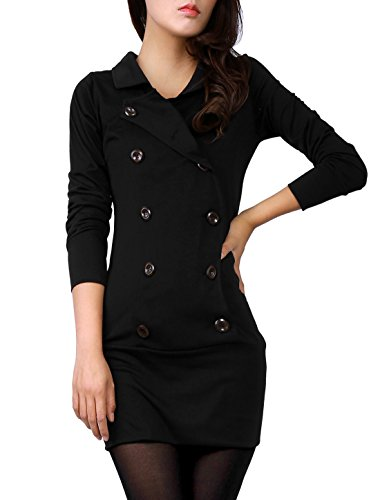 Allegra K Women Long Sleeve Fitted Casual Mini Shirt Dress ,Black ,X-Small