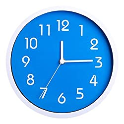 Binwo Modern Colorful Stylish Elegant Silent Non-ticking Home Kitchen/Living Room Wall Clock 10 Inches (Blue)