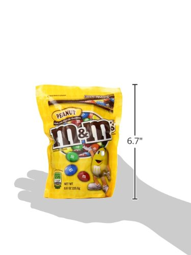 M&M's Peanut Chocolate Candy, 8 Ounce Pouch (Pack of 12)