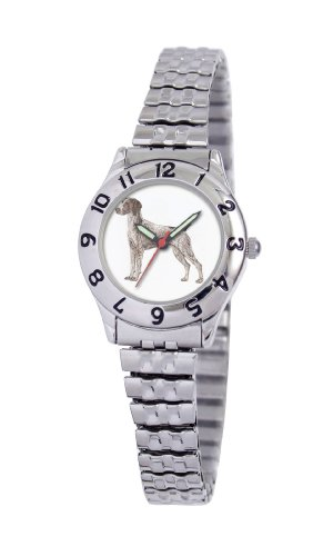 American Kennel Club Women's D1629S244 German Shorthaired Pointer Silver-Tone Expansion Band Watch