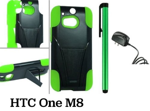 Htc One M8 Premium Pretty T-Stand Design Protector Hard Cover Case (2014 Q1 Released; Carrier: Verizon, At&T, T-Mobile, Sprint) + Travel (Wall) Charger + 1 Of New Assorted Color Metal Stylus Touch Screen Pen (Green / Black)
