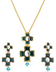 Voylla Gold Toned Necklace Set Studded With Blue Stones
