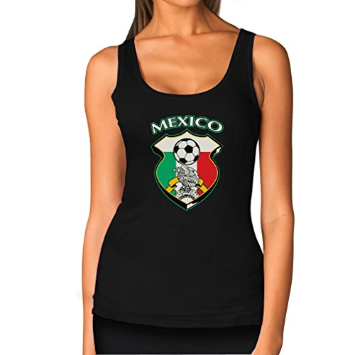 Teestars Women'S - Mexico Soccer Jersey Tank Top Medium Black