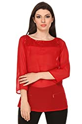 Oyshi Women's Self Design Top (RD1004M, Red, Medium)