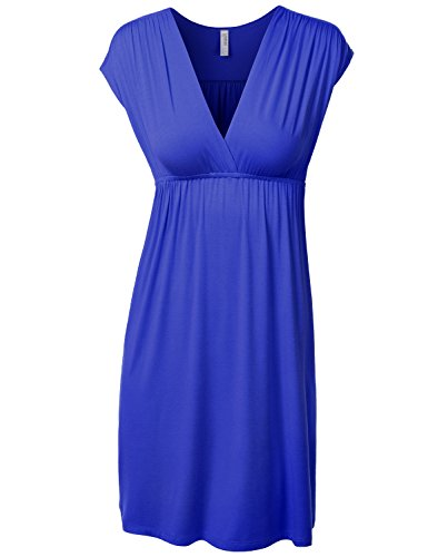 J.Tomson Womens Short Sleeve V-Neck Jersey Dress Royal Large