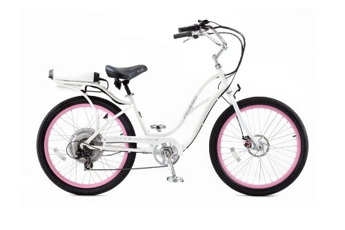 PEDEGO Electric Bicycle Step-Through Beach Cruiser White/Pink