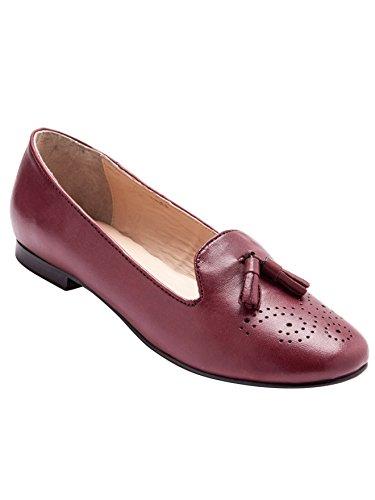 Balsamik - Mocassini slippers con pompon in pelle - - Size : 42 - Colour : Bordeaux