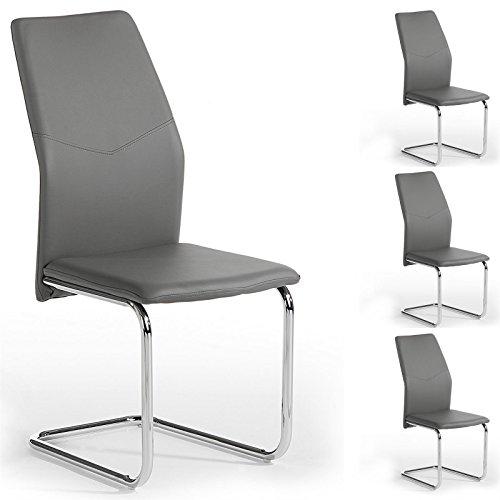 4er-Set-Schwingstuhl-Esszimmerstuhl-Freischwinger-LEONA-Lederimitta-in-grau-Metall-verchromt
