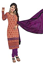Sree Impex Women's Cotton Unstitched Dress Material (SI-CO-70_Orange_Free Size)