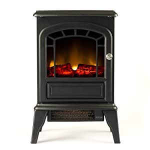 Aspen Free Standing Electric Fireplace Stove 23 Inch Black Portable Electric