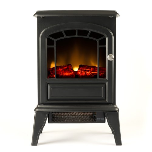 Aspen Free Standing Electric Fireplace Stove - 23 Inch Black Portable Electric Vintage Fireplace with Realistic Fire and Logs. Adjustable 1500W 400 Square Feet Space Heater Fan (Space Heaters Fireplace compare prices)