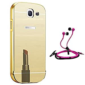 Droit Luxury Metal Bumper + Acrylic Mirror Back Cover Case For + Samsung A710 Stylish Zipper Handfree and Good QualitySound by Droit Store.