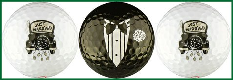 Just Married with Antique Car Golf Ball Set