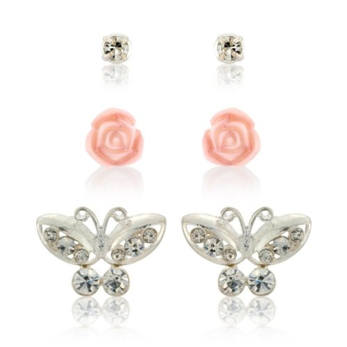 Diamante butterfly earrings and classic diamante studs and pretty pink flower earring 3 piece set - arrives in a presentation gift box.