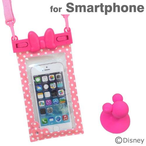 ディズニー 防水ケース IPX8 キャラクター スマホ カバー 各種 スマートフォン 対応 / iPhone5s / iPhone5c / iPhone5 / iPod / Disney Mobile / Xperia Z1f / Xperia A / Galaxy S4 / ミニー リボン ピンク ドット