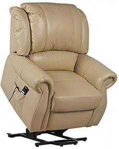 Cosmopolitan Dual Motor Leather Riser Recliner Chair Rise & Recline Armchair - Cream