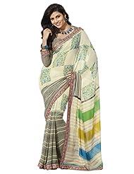 Prafful Gorgette Printed Saree With Unstitched Blouse - B00KNUQLDW