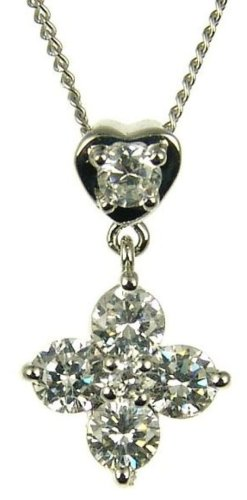 9ct White Gold Ladies' Cubic Zirconia 4 Petal Flower and Heart Drop Pendant on 46cm Curb Chain