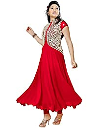 Clickedia Women Faux Georgette Red Anarkali With White Embroidered Salwaar Suit Dupatta - Dress Material