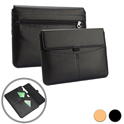Cooper Cases(TM) Envelope Prestigio MultiPad 2 Prime Duo 8.0/Pro Duo 8.0 3G Portfolio-Hülle für Tablets im Business-Stil in Schwarz mit integrierten Kartenfächern, Stylus-/Stifthalter & zusätzlichen Fächern