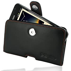 PDair P01 Black Orange Stitchings Leather Case for Samsung Galaxy Note GT-N7000