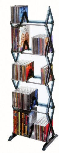 Atlantic 64835195 Mitsu 130 CD/90 DVD/BluRay/Games 5-Tier Media Rack Smoke (Discontinued by Manufacturer)