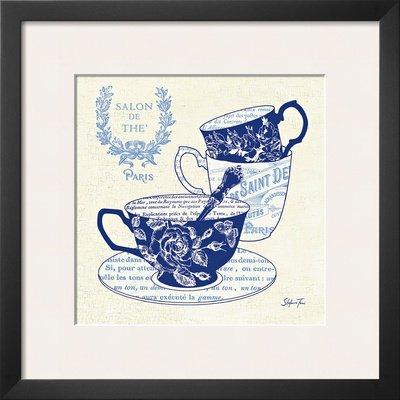 Blue Cups IV Framed Art Poster Print by Stefania Ferri, 19x19