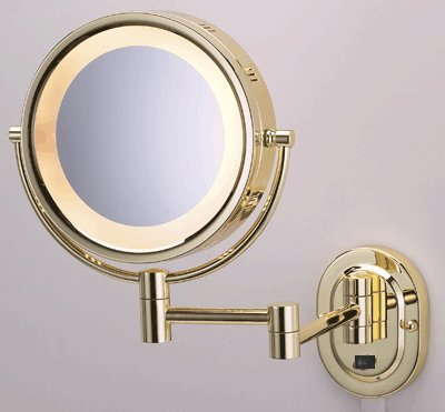 "Seeall 8"" Polished Brass Finish Dual Sided Surround Light Wall Mount Makeup Mirror (Hardwired Model) front-654925"