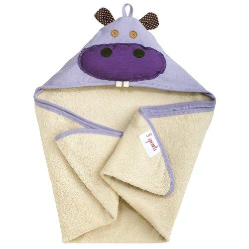 Deer Mum Baby'S Cartoon Hooded Bath Towel Microfiber Bathrobe Infant Animal Design Beach Towel (Purple Hippo) front-601318
