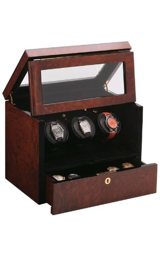 Orbita Watch Winders The Monico Burlwood - Watch Winder For Three Watches By Orbita